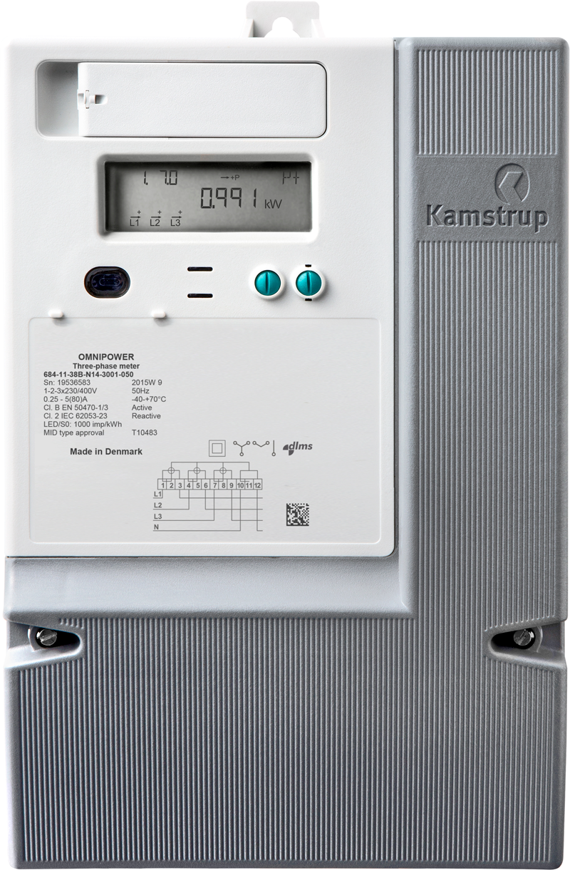 3 Phase Power Meter : Kamstrup omnipower three phase a direct connect smart